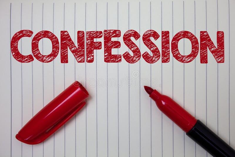 Confesión del texto de la escritura de la palabra Concepto del negocio para el papel b del cuaderno de la aserción de la elocució imagen de archivo
