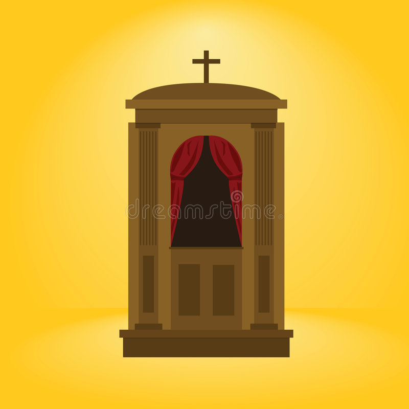 Confession booth. Cartoon illustration of a wooden confession booth royalty free illustration