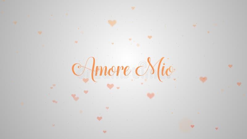 Confession d'Amore Mio Love Coeur de Saint-Valentin fait en ?claboussure rose d'isolement sur rose-clair embelli avec peu de mign illustration de vecteur