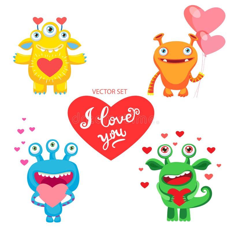 Confession de l'amour Un souhait du ` s d'amant Soyez le mien seulement Vecteur réglé avec les monstres mignons d'amour Dirigez l illustration stock