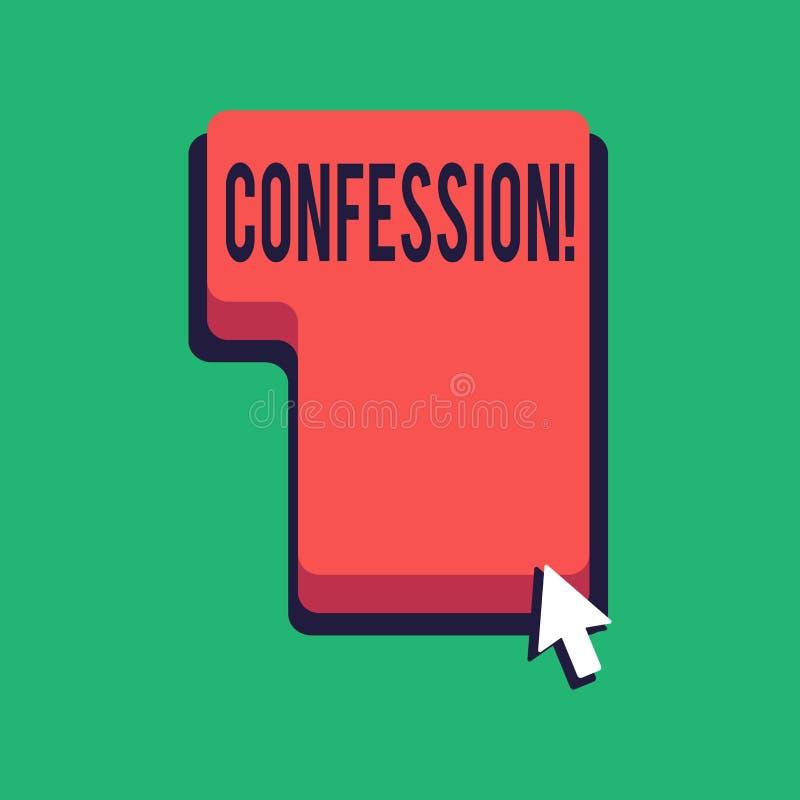 Confession des textes d'écriture de Word Concept d'affaires pour l'affirmation d'expression de Divulgence de révélation de révéla illustration libre de droits