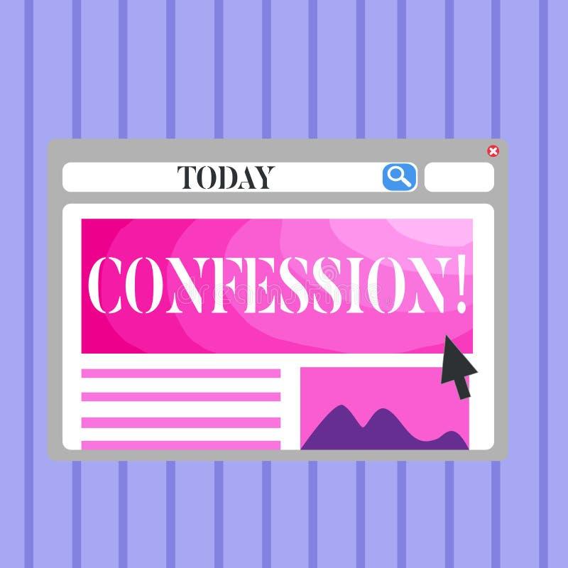 Confession des textes d'écriture de Word Concept d'affaires pour le blanc d'affirmation d'expression de Divulgence de révélation  illustration libre de droits