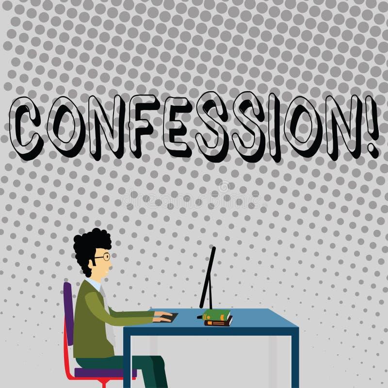 Confession des textes d'écriture Homme d'affaires d'affirmation d'expression de Divulgence de révélation de révélation d'admissio illustration libre de droits