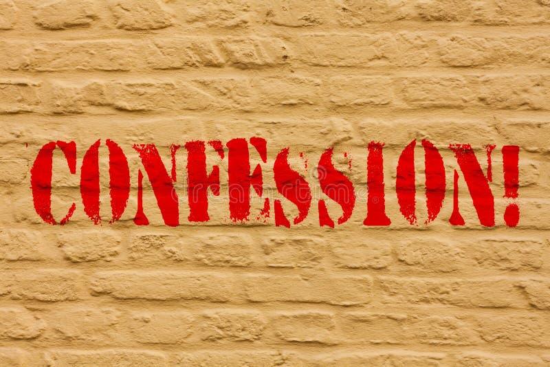 Confession des textes d'écriture Mur de briques d'affirmation d'expression de Divulgence de révélation de révélation d'admission  illustration libre de droits
