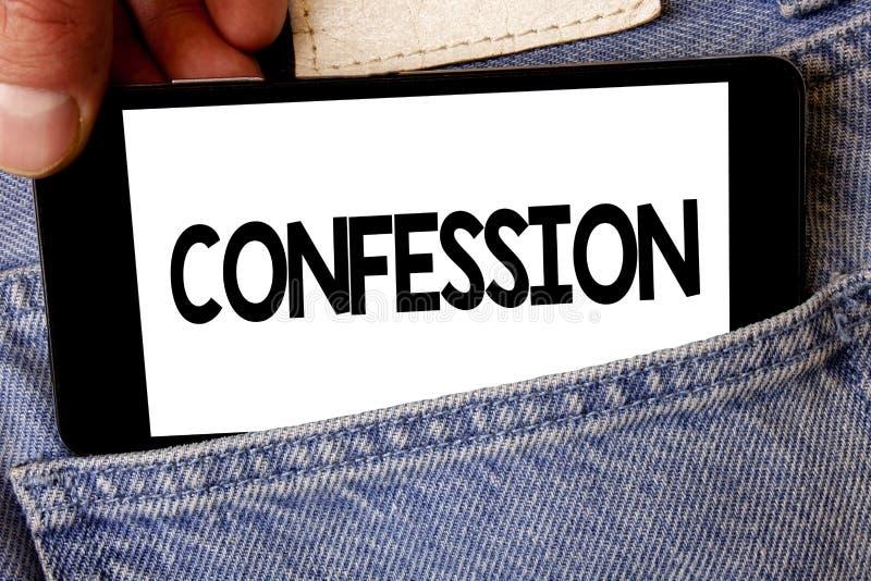 Confessione del testo della scrittura Cellula di tenuta della tenuta dell'uomo di asserzione di espressione di Divulgence di rive fotografie stock