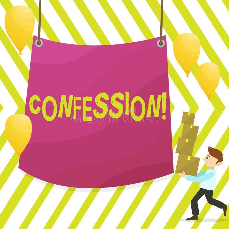 Confessione del testo di scrittura di parola Concetto di affari per l'uomo di asserzione di espressione di Divulgence di rivelazi illustrazione di stock