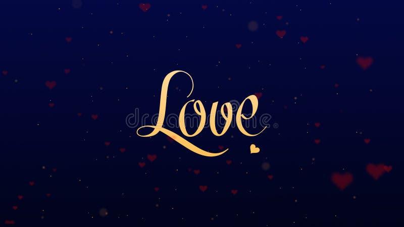 Confessione di amore Iscrizione di San Valentino, isolata su fondo blu, che bedecked con pochi cuori rossi svegli fotografie stock