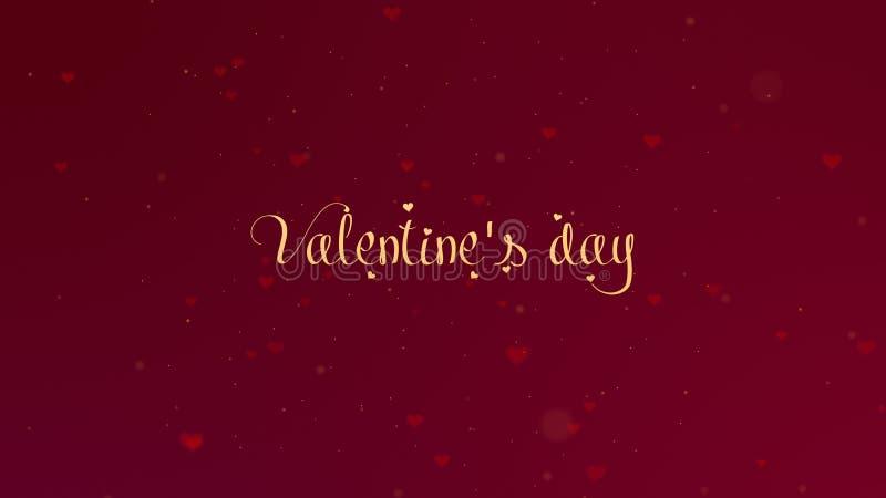 Confessione di amore di San Valentino L'iscrizione di San Valentino ? isolata su fondo rosso, che bedecked con piccolo fotografia stock libera da diritti