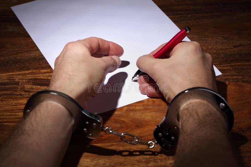 Confessione o accordo forzata immagini stock libere da diritti