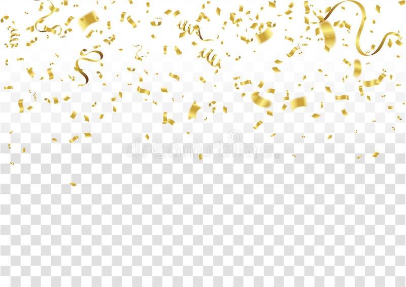 Confetes abstratos do ouro da celebração do fundo Fundo do vetor ilustração stock
