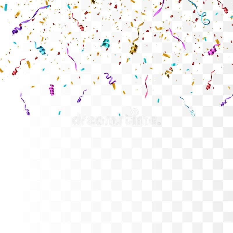 Confetes brilhantes coloridos isolados no fundo transparente ilustração do vetor