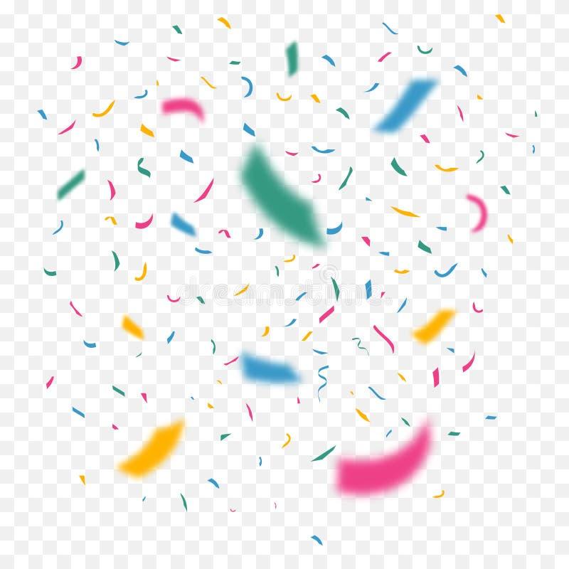 Confetes coloridos do voo no foco diferente Fitas da cor da celebração Decoração do festival com brilho de queda Vetor ilustração stock