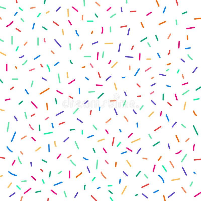 Confetes coloridos festivos do carnaval no fundo branco Teste padrão do feriado do aniversário do elemento ilustração do vetor