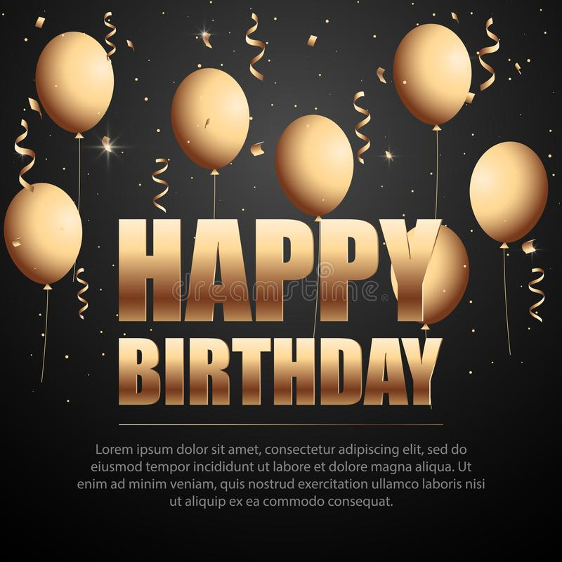 Confetes da folha do feliz aniversario e balões dourados do ouro do branco e do brilho ilustração stock