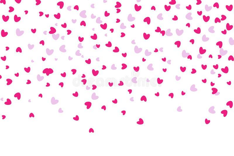 Confetes dados forma coração que caem para baixo ilustração royalty free