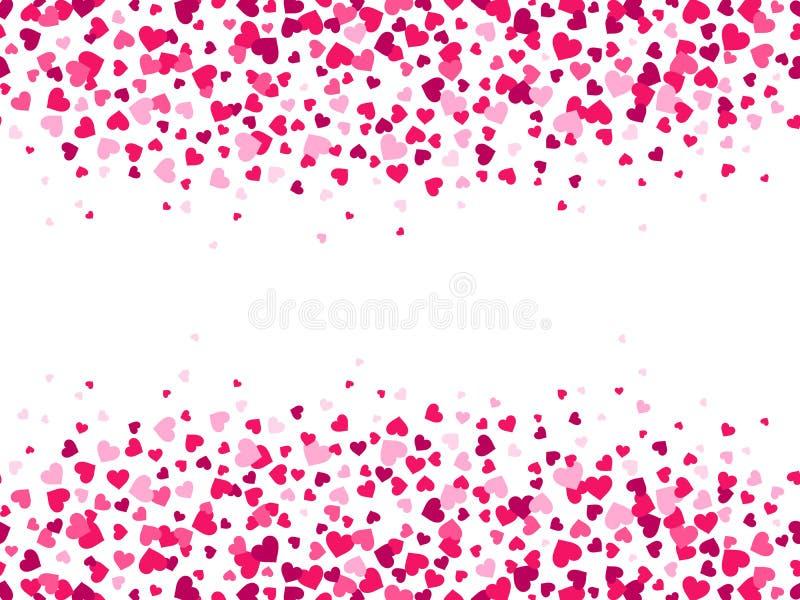 Confetes dos corações dos Valentim Respingo do coração, beira do quadro do dia de são valentim e fundo do vetor do cartão do amor ilustração royalty free