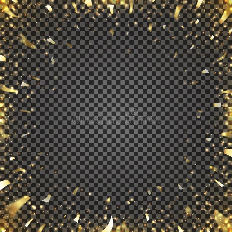 Confetes dourados que voam ao centro da imagem ilustração stock