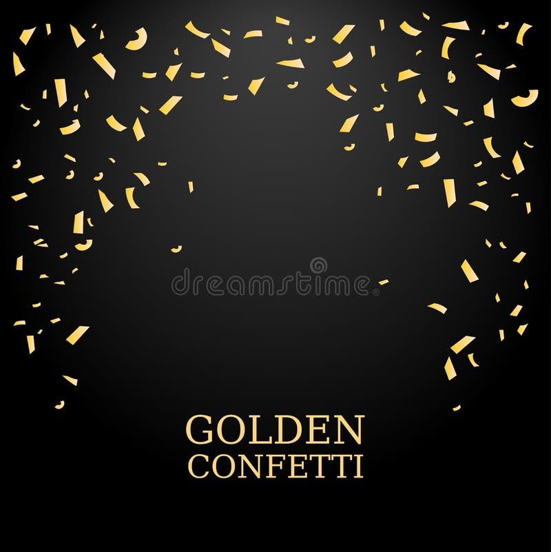 Confetes dourados Textura do brilho do ouro em um fundo preto Queda dos confetes Elemento do projeto Ilustração do vetor ilustração do vetor