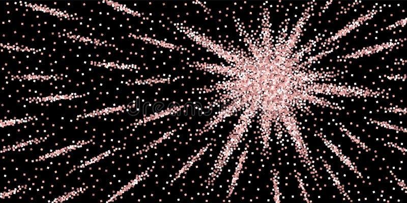 Confetes efervescentes luxuosos do brilho cor-de-rosa do ouro Scatt ilustração do vetor