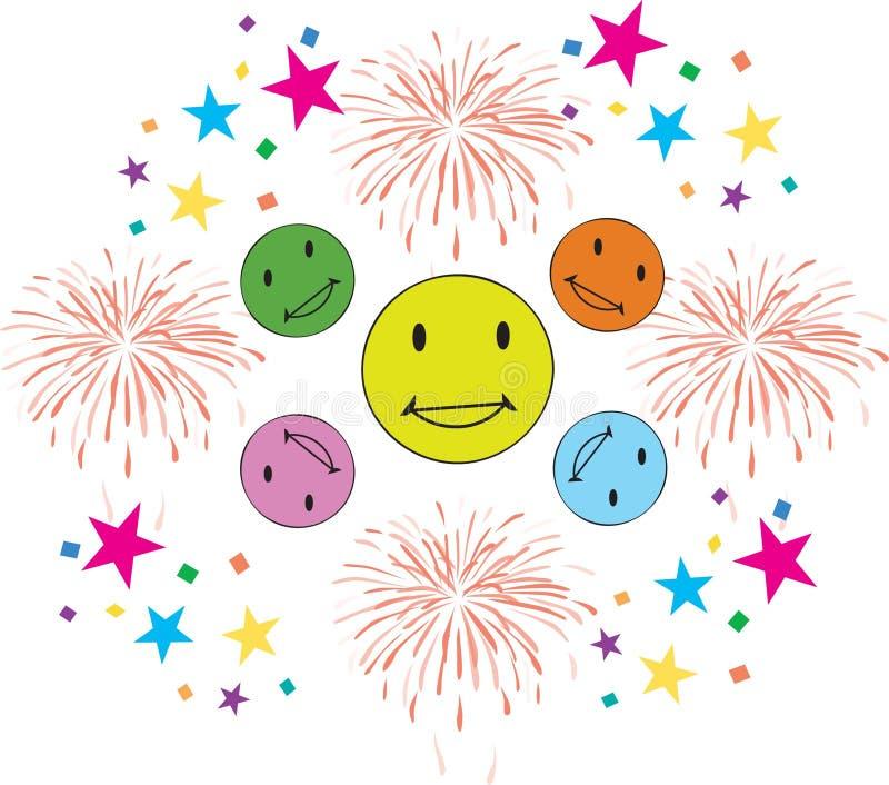 Confetes felizes do fogo de artifício dos sorrisos ilustração stock