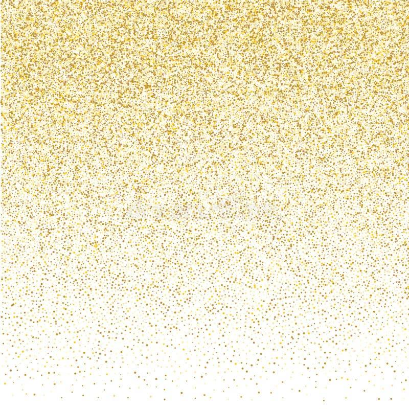 Confetes pequenos dourados no fundo branco ilustração do vetor