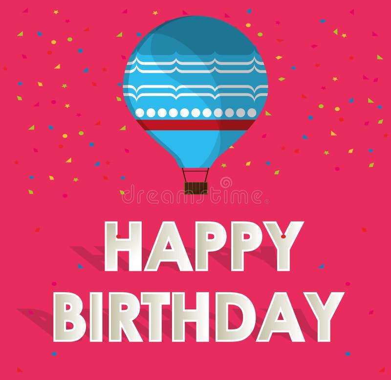 Confeti azul de la tarjeta del feliz cumpleaños del airballoon y fondo rosado libre illustration