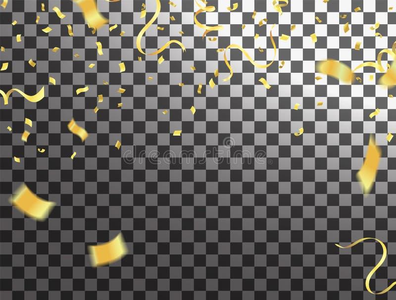 Confeti brillante de la forma del cuadrado del oro aislado en fondo ilustración del vector
