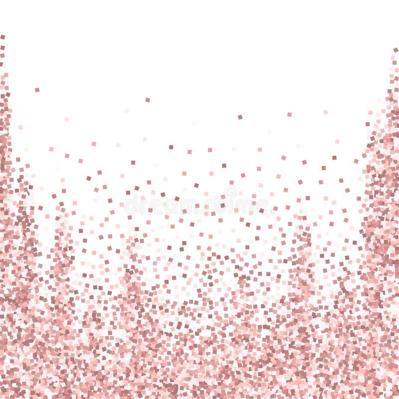Confeti chispeante del oro del lujo rosado del brillo Scatt ilustración del vector