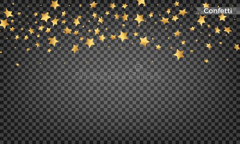 Confeti de la estrella del oro Elementos festivos del diseño Confeti brillante del vuelo ilustración del vector
