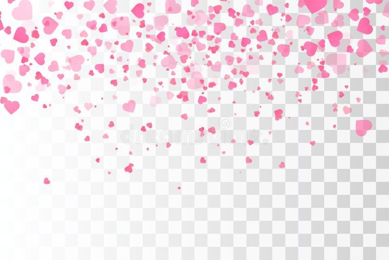 Confeti de los corazones Plantilla del vector de las tarjetas del día de San Valentín ilustración del vector