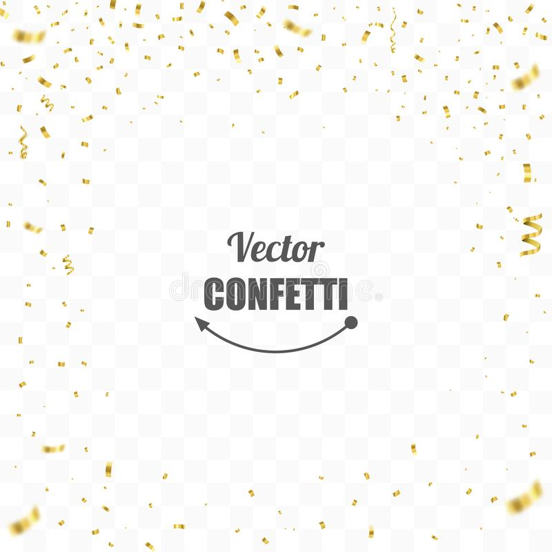 Confeti de oro aislado Fondo festivo Ilustración del vector stock de ilustración