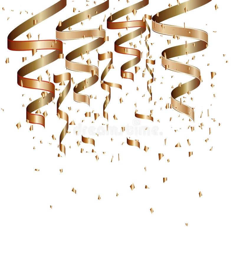 Confeti de oro en un fondo aislado blanco fotos de archivo