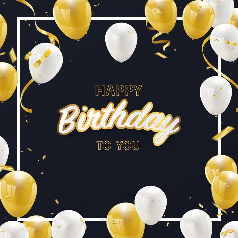 Confeti de oro de la hoja de la bandera del partido de la celebración del vector del feliz cumpleaños libre illustration