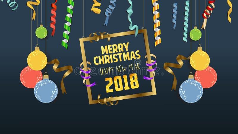 Confeti de papel que cae por 2018 Años Nuevos y la Navidad con la bola ilustración del vector