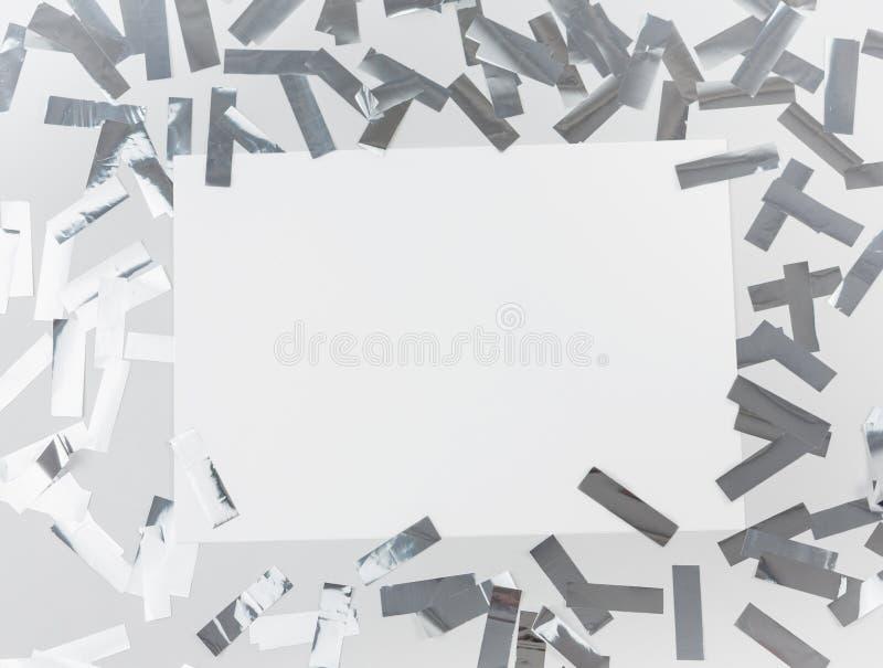 Confeti de plata del metafun del partido foto de archivo libre de regalías