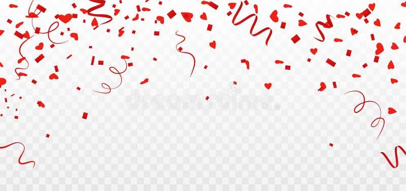 Confeti del corazón Decoración del día de tarjetas del día de San Valentín Corazones que vuelan en fondo transparente Vector ilustración del vector