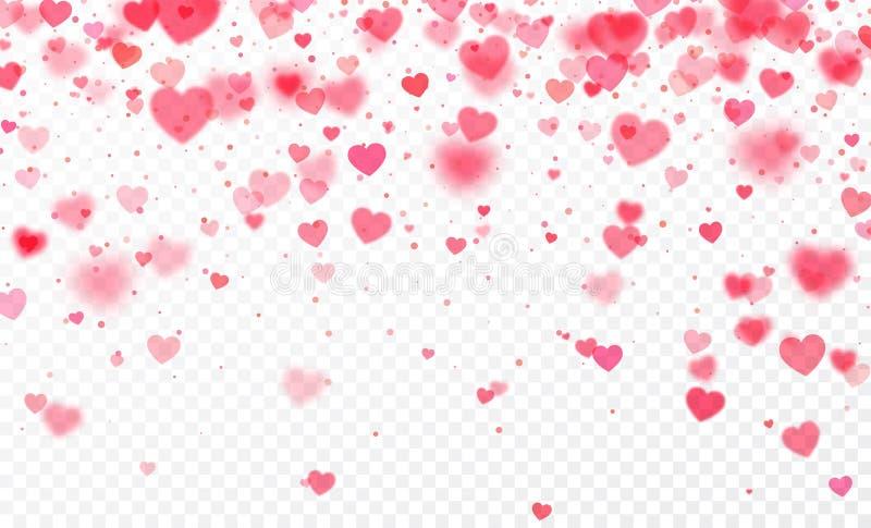 Confeti del corazón que cae en fondo transparente Modelo de la tarjeta del día de tarjetas del día de San Valentín Ilustración de libre illustration