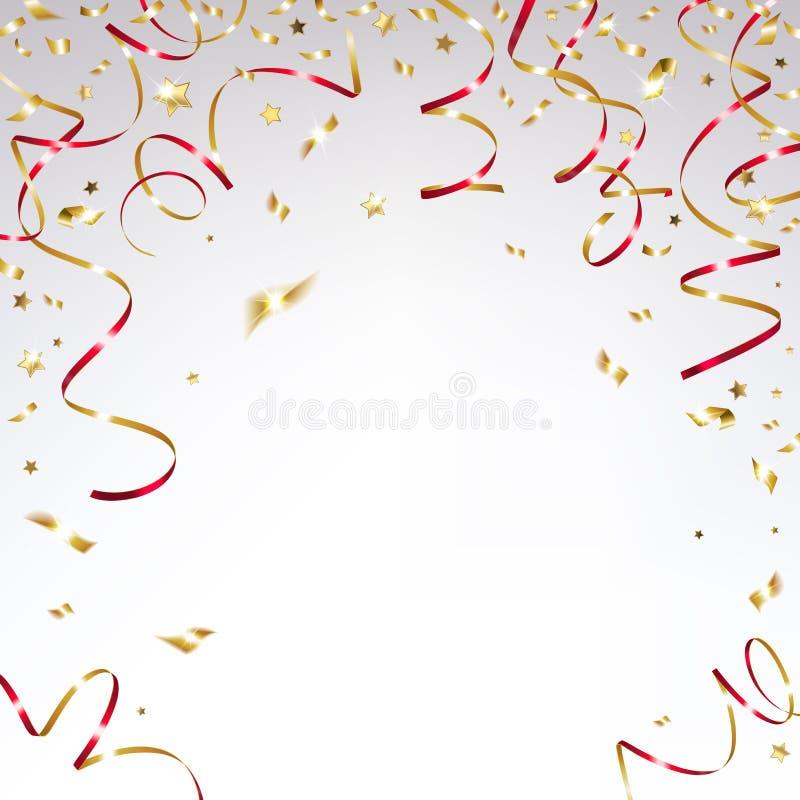 Confeti del oro y cintas rojas festivas libre illustration
