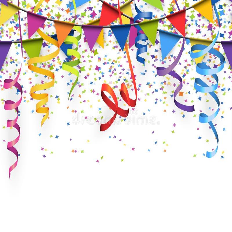 confeti, flámulas y fondo coloreados inconsútiles de las guirnaldas stock de ilustración