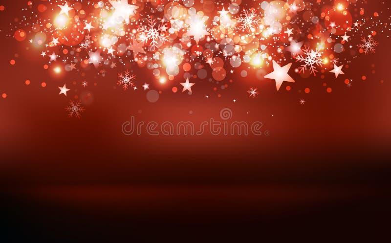 Confeti mágico rojo de las estrellas fugaces con la estación de la etapa del premio, estrellas que caen, copos de nieve y polvo,  stock de ilustración