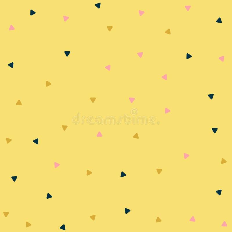 Confeti o vidrio multicolor de la forma del triángulo roto en los pedazos minúsculos dispersados en al azar en infinito sin fin i ilustración del vector