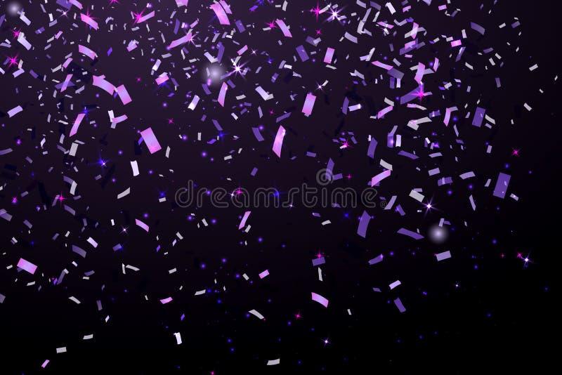 Confeti púrpura del brillo brillante que cae aislado en fondo negro Confeti de la Navidad o de la Feliz Año Nuevo ilustración del vector