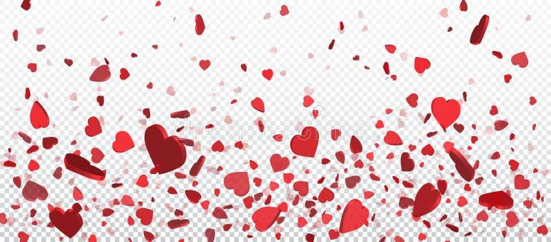 Confeti rojo del corazón del vuelo, fondo del día de tarjetas del día de San Valentín Diseñe el elemento para la tarjeta de felic stock de ilustración