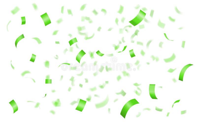 Confeti verde brillante que cae ilustración del vector