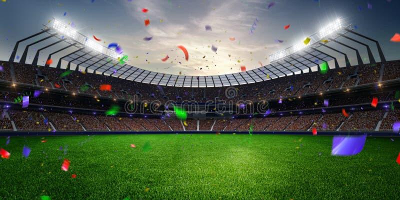 Confeti y malla de la puesta del sol del estadio con las fans de la gente 3d hacen el ejemplo nublado fotografía de archivo libre de regalías