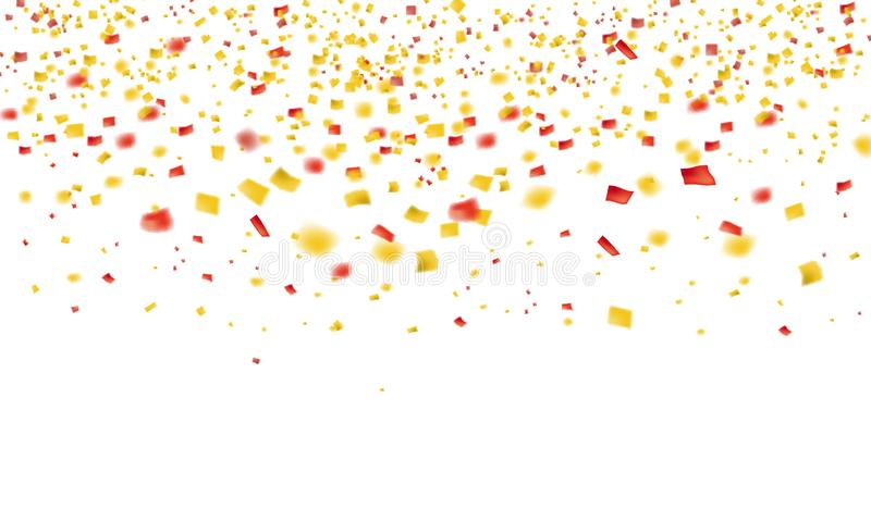 Confeti y malla del oro que vuelan que caen de la lluvia de oro superior En un fondo blanco Concepto del bote o del ?xito libre illustration