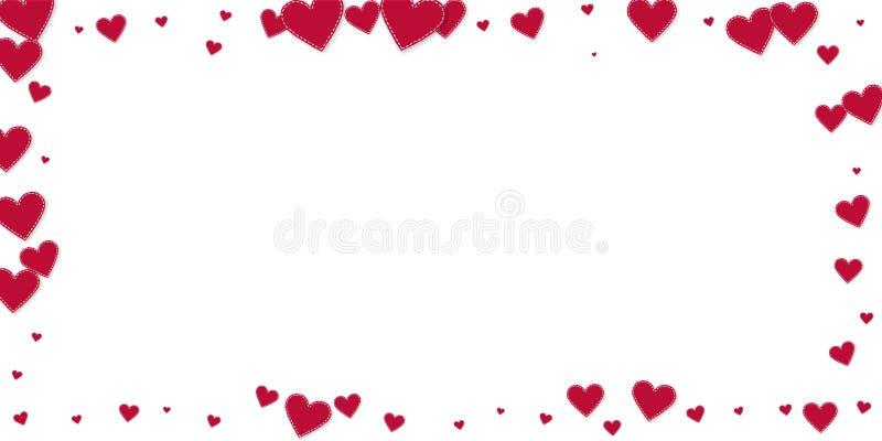 Confetis rojos del amor del corazón Marco del día de tarjeta del día de San Valentín adentro libre illustration