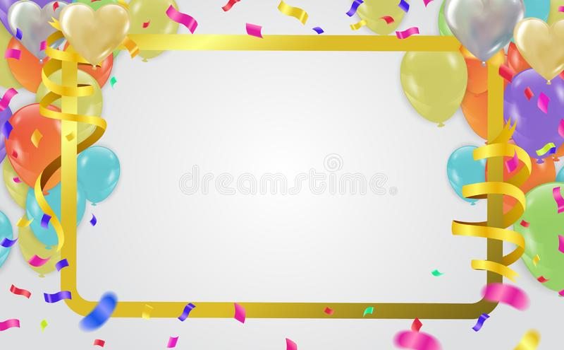 Confett da folha de ouro da bandeira do partido do vetor do feliz aniversario da celebração ilustração royalty free