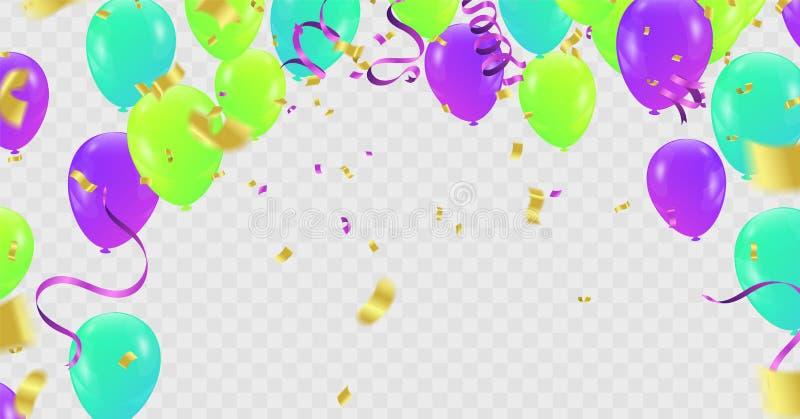 Confetti воздушных шаров красочный яркий изолированный на прозрачной предпосылке праздничная иллюстрация вектора иллюстрация вектора