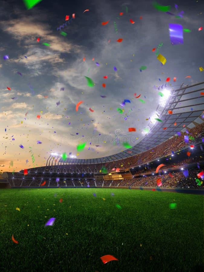 Confetti и сусаль захода солнца стадиона с вентиляторами людей 3d представляют иллюстрацию пасмурный стоковая фотография